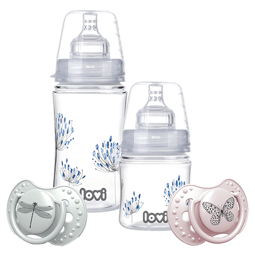Products from the Botanic Collection - two bottles with blue flowers, one pink soother with butterly and one green soother witd dragonfly
