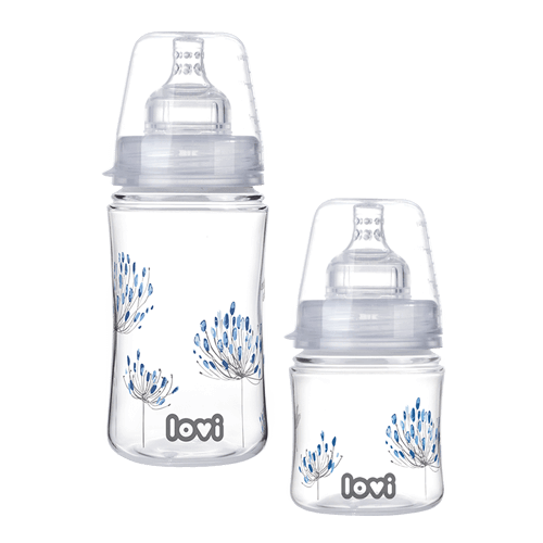 Two LOVI Trends bottles from the Botanic collection. One small and one big. Both printed around with blue flowers