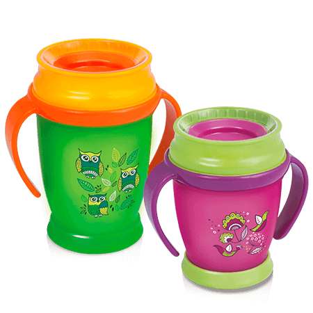 Two LOVI 360 Cups from Folky Collection - one green and the other pink