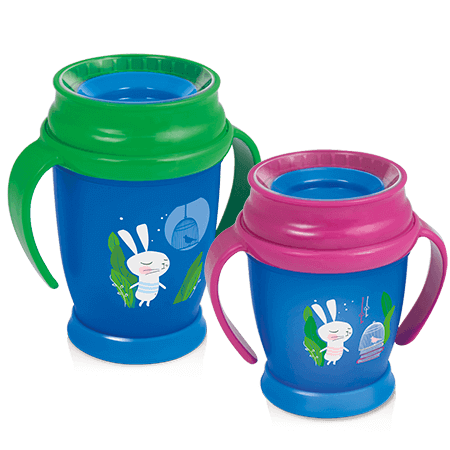 Two LOVI 360 Cups from Follow the rabbit collection - one blue with pink handles and the other blue with green handles