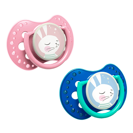 Two LOVI Soothers from Follow the Rabbit Collection - one soother is light pink and the other is dark blue. Both have a drawing of a rabbit on the disc