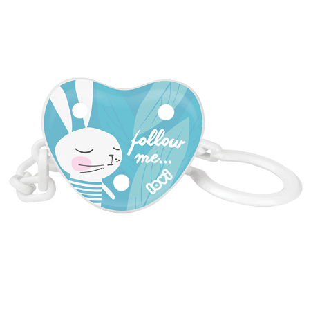 A soother holder made of white chain and a turquoise disk with a print of a white rabbit on in.