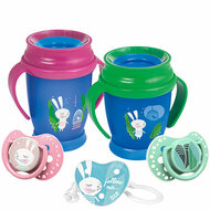 Two 360 Cups, two soothers and a soother holder with a Follow the Rabbit theme. With white background.