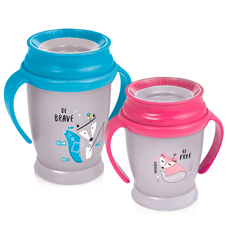 Two LOVI 360 Cups - one with blue handles and one with pink handles - from the Indian Summer Collection on white background