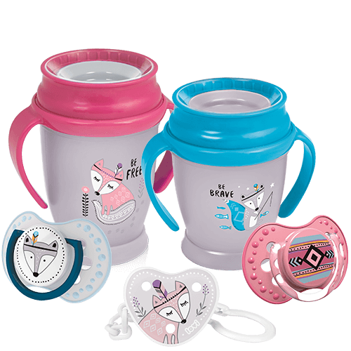 A set of five products - two lovi 360 cups, two soothers and a soother holder all from follow the rabbit collection - with a cartoon white rabbit theme. On a white background.