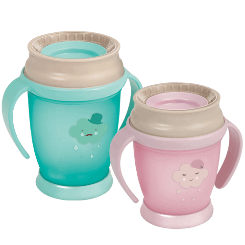Two LOVI 360 Cups from Retro Collection - one mint and the other pink