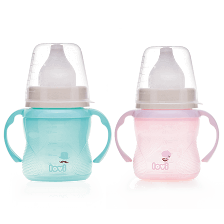 Two LOVI training cups from the Retro collection - one in a pink version for a girl and a mint one for a boy