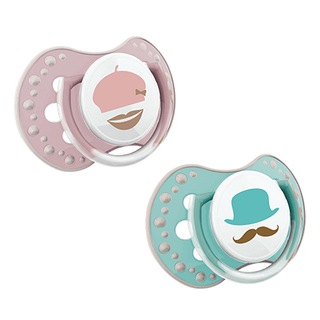 Two LOVI Soothers on white background, one mint with face and moustashe, one pink with mouth and a hat.
