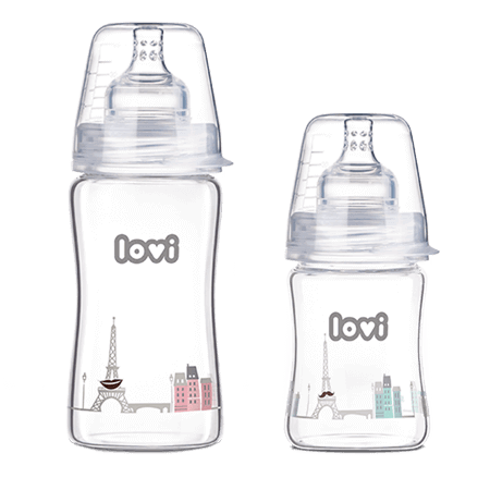 Two LOVI glass bottles transparent with a panorama of Paris - one with pink buildings and a smile in Eiffel Tower for a girl, and one with mint coloured buildings with a moustache in Eiffel Tower for a boy