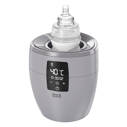 Gray LOVI bottle warmer is fast and intuitive - a shot with a LOVI bottle inside