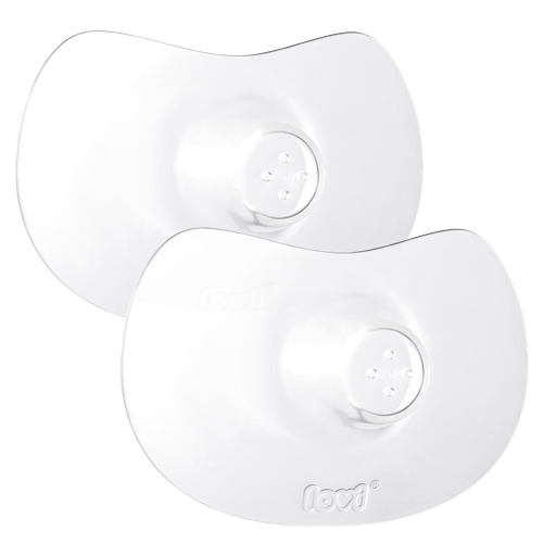 Two transparent lovi silicone nipple shields with visible contoured shape