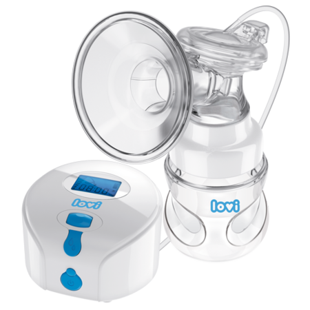 LOVI Prolactis electronic breast pump. White body with blue buttons and a blue display