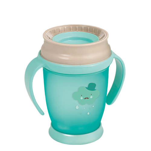 Lovi 360 Cup from the Retro baby collection, Mint cup with a beige cap and a cloud with a moustahe theme on it