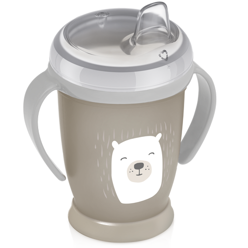 LOVI non-spill cup from the buddy bear collection - beige cup with a white bear painted on it