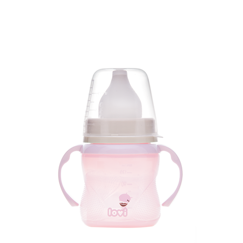 Lovi training cup from the Retro baby collection. A pink cup with a small moustash theme and a white spout