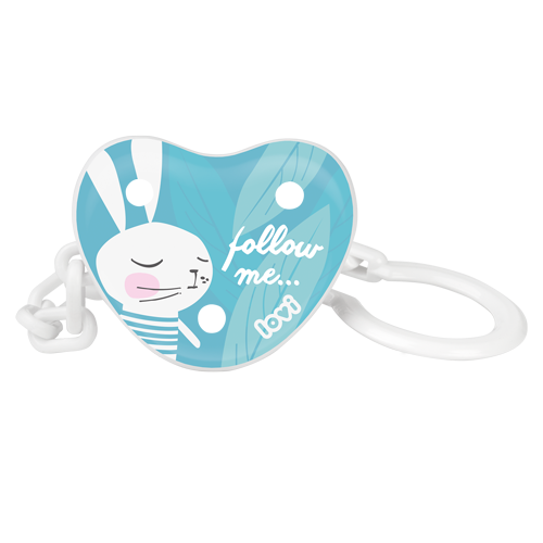 LOVI soother holder on a white background. A white and mint soother holder with white rabbit theme