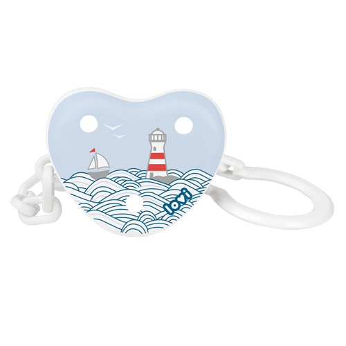 LOVI soother holder ona white background. A white, blue and red soother holder with a marine theme - sea, lighthouse and a little boat