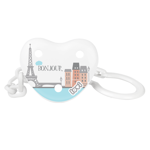 "LOVI Soother Holder - white with a print of Paris panorama and a ""Bonjour"" inscription"