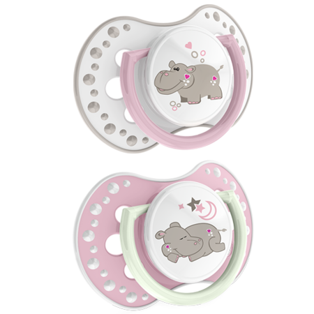 LOVI Silicone Dynamic Soother 3-6m 2 pcs Night&Day Girl