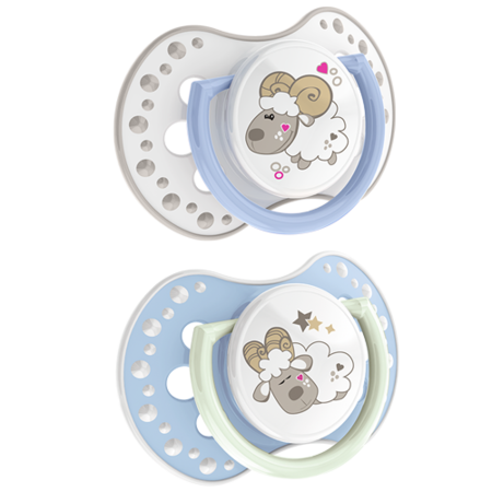LOVI Silicone Dynamic Soother 3-6m 2 pcs Night&Day Boy