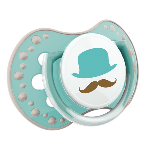 Lovi soother from the lovi retro collection. Mint soother with white colours - with a moustashe theme